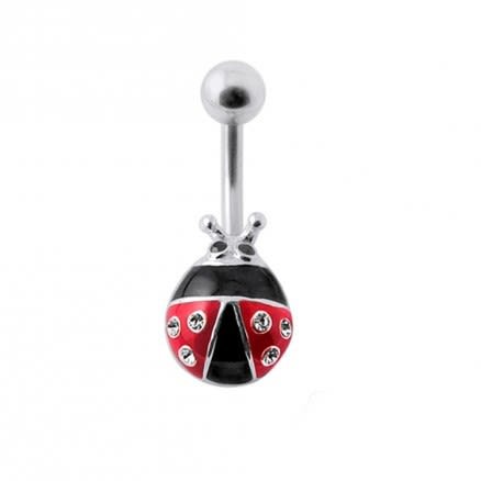 Colorful Fancy Bug Silver Belly Ring