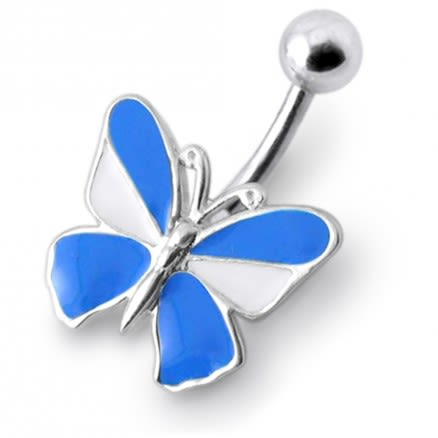 SS 14G Rexine Butterfly Silver Navel Ring
