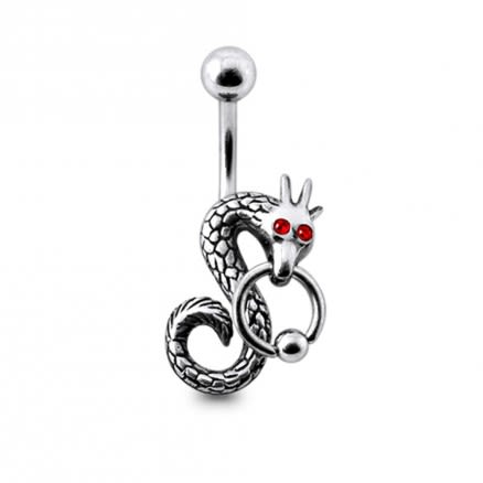 BCR Pierced Dragon Silver Belly Ring