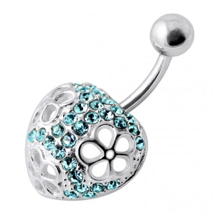 Fancy Jeweled Heart Silver Banana Bar Navel  Ring