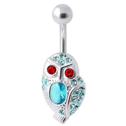 Red Eye Jeweled Owl Navel Bar