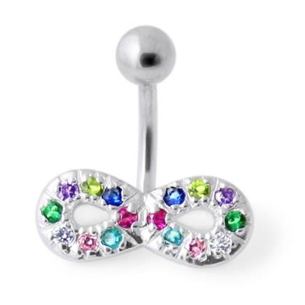 Jeweled Infinity Non Dangling Navel Bar