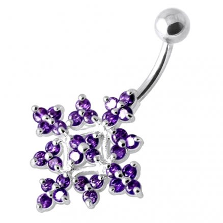 Multi Jeweled Big Flower Non Dangling Belly Bar