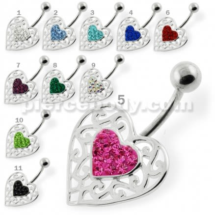Jeweled Heart in a Heart Pattern Navel Ring