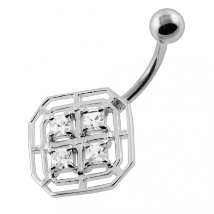 4 Square Stones in Square Frame Navel Belly Piercing