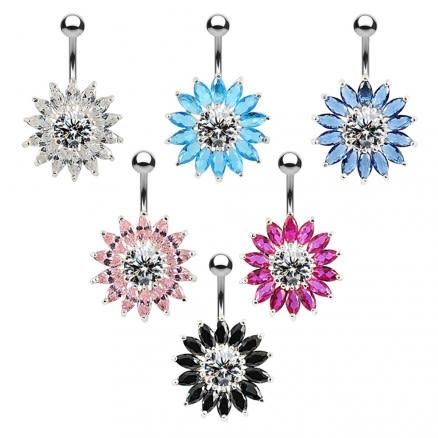 Sterling Silver Jeweled Sunflower Belly Bar Body Jewelry