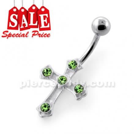 Jeweled Crucifix Silver Navel Bar
