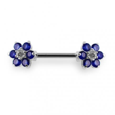 Jeweled Flower Silver Nipple Bar