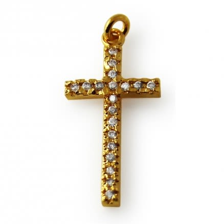 Gold Platted Jeweled Cross Pendant