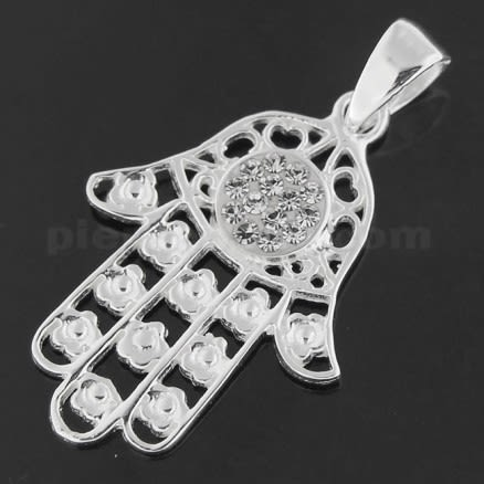 925 Sterling Silver Jeweled Fatima Hand with Flowers Pendant