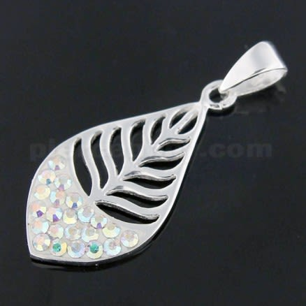 925 Sterling Silver Jeweled Leaf Pendant