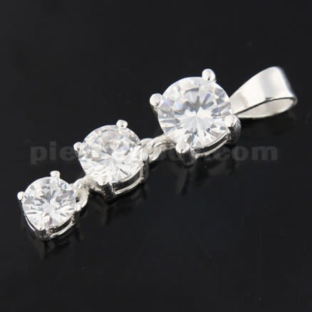 Fancy 925 Sterling Silver Jeweled Pendant