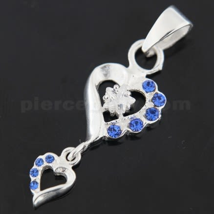 925 Sterling Silver Double Heart Hanging Jeweled Pendant