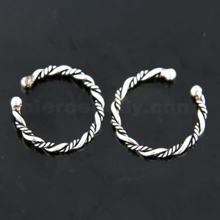 Flexible Sterling Silver Twisted Circular Fake Septum Piercing