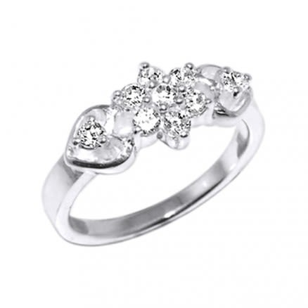 CZ Jeweled Fashion Heart Shape Silver Ring