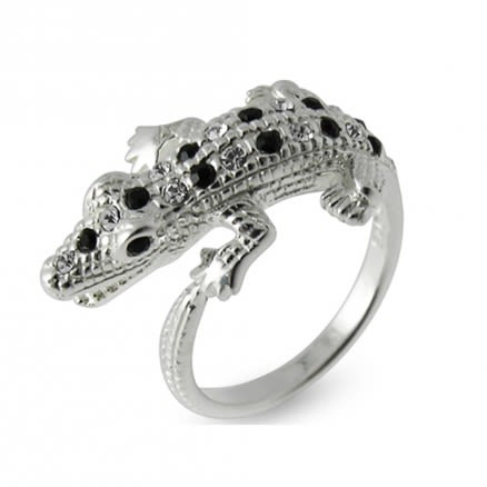 Alligator Jeweled Fashion Silver Ring