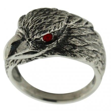 Jeweled Red Eye Eagle Finger Ring