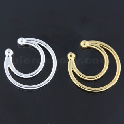 925 Sterling Silver Twin Horseshoe Fake Septum Piercing