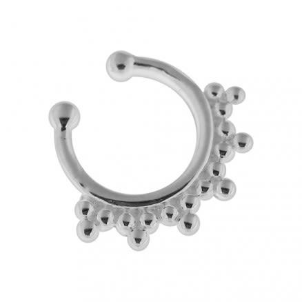 925 Sterling Silver Tribal Dots Fake Septum Piercing