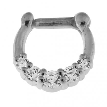 925 Sterling Silver 5 Paved Stones Septum Piercing
