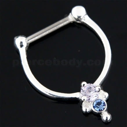 925 Sterling Silver Jeweled Dotted Pattern Septum Clicker