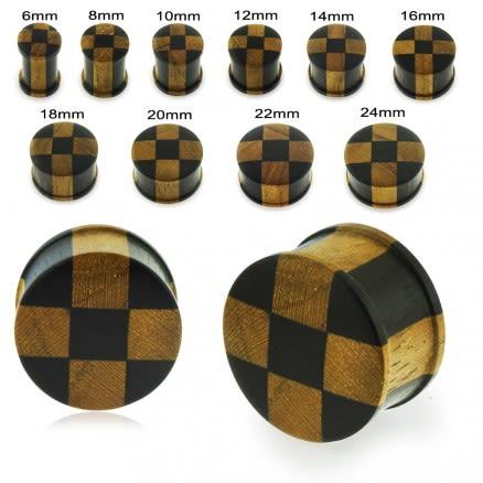 Organic Iron and Teak Wood Checker Ear Plug Gauges