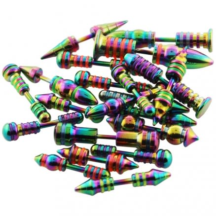 50 Pieces Different Types of Rainbow Anodized Spike to Spike Fake Ear Plugs