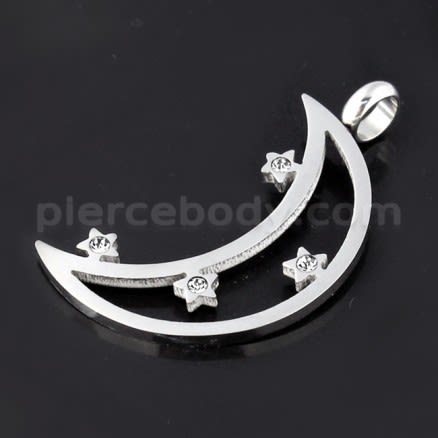 Jeweled Crescent Moon Stainless Steel Casting Pendant