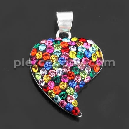 925 Sterling Silver Multi Color Jeweled Pendant