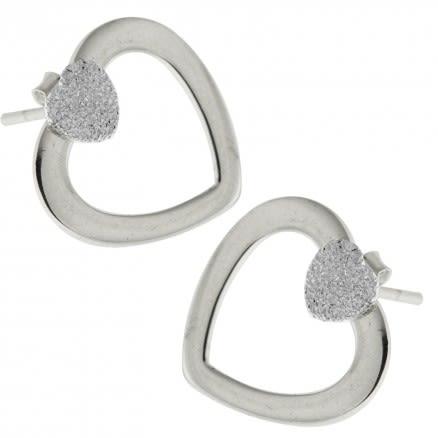 Heart Diamond Dot on Top of Heart Cut Ear Stud Ear Ring