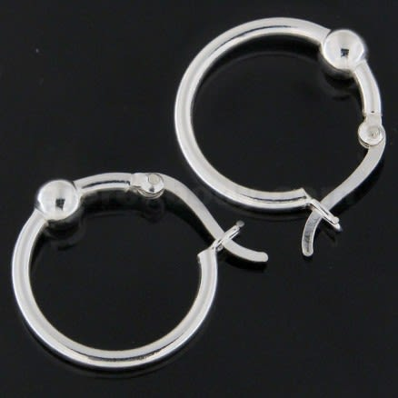 Plain Silver Ball in center Lever Back Ear Stud Ear Ring