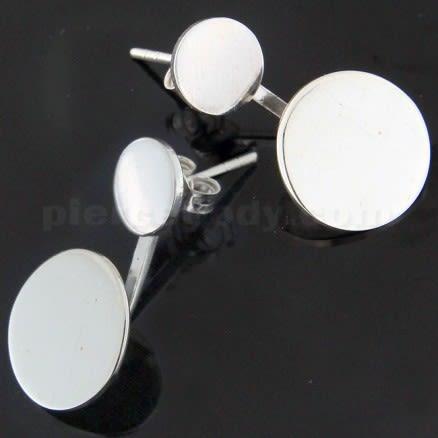 925 Sterling Silver plain Round Twins Ear Stud Ear Ring