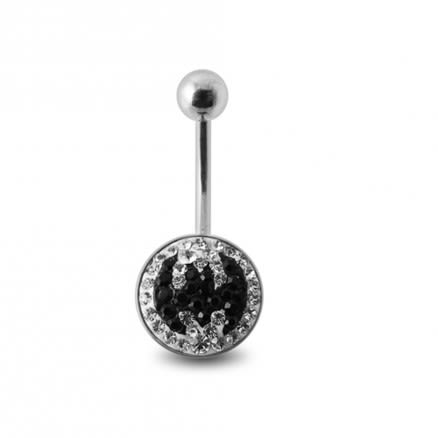 Crystal stone BAT Design SS Banana Bar Belly Ring with steel Base