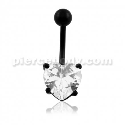 Blackline Clear Heart Jeweled Navel Belly Ring