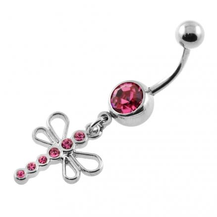Dangling Jeweled Dragonfly Navel Belly Ring