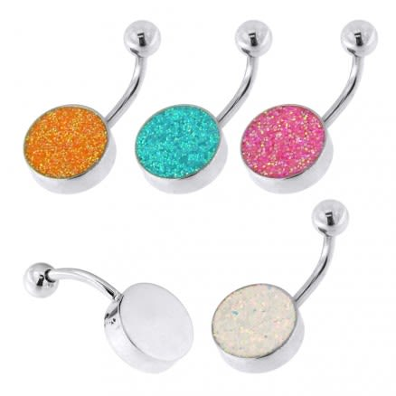 Surgical Steel Glitter Navel Belly Button Ring