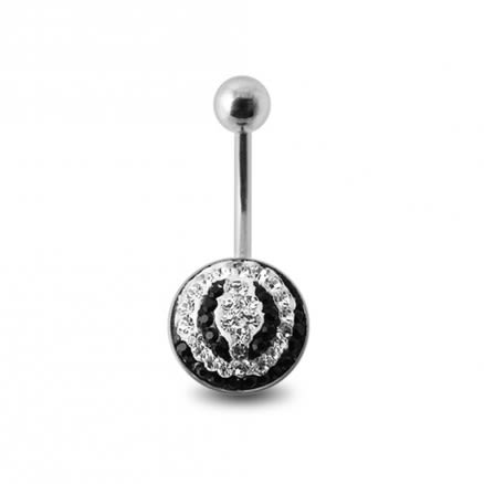 Crystal Stone Belly Ring with Steel Base SBLY09