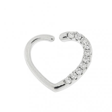 Jeweled Heart Cartilage Single Closure Ring Daith Piercing