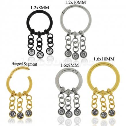 3 CZ Stones Dangling Hinged Segment Ring