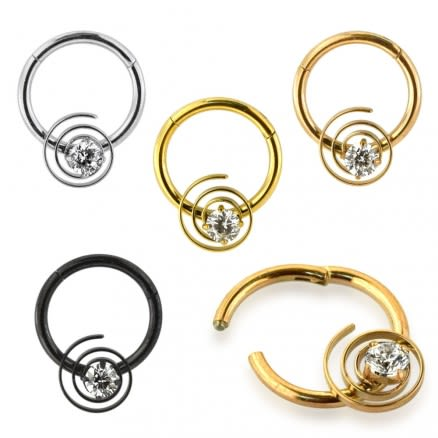 CZ Jeweled Swirl Segment Clicker Ring
