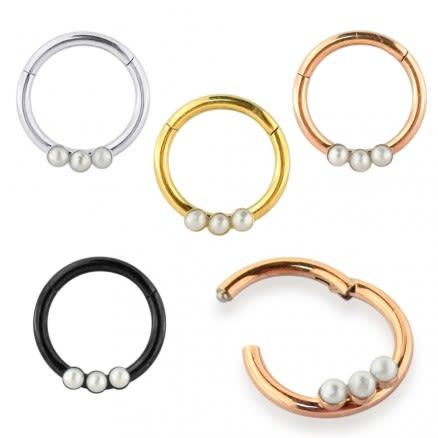 Tri Pearl Jeweled Classic Segment Clicker Ring