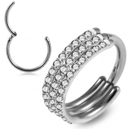 Three Line Crystal Surgical Steel Seamless Hinged Clicker Segment Ring