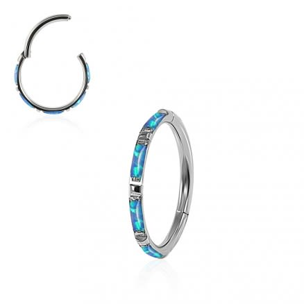 Opal Stones Inlay 316L Surgical Steel Hinged Segment Clicker Ring