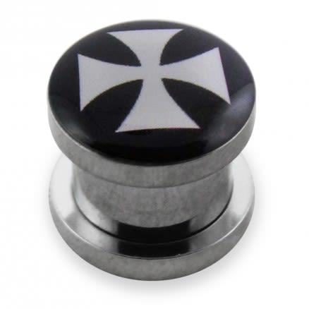 Irish Cross Logo With SS Screw Fit  Ear Tunnel