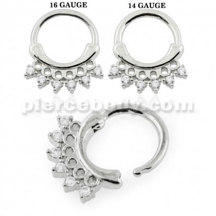 Acerose Filigree with Crystal CZs Septum Clicker