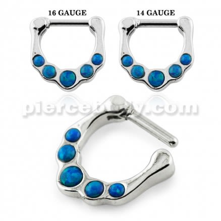 Synthetic Dark Blue Opal Septum Clicker Piercing