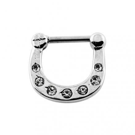 Single Line Pronged Crystal CZs Septum Clicker