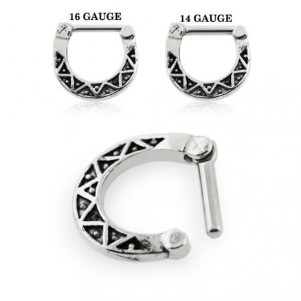 Tribal Dots Oxidized Septum Clicker Piercing