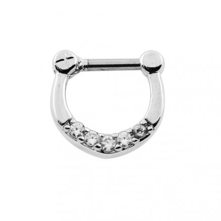 Five Pronged White and Aqua CZs Septum Clicker Ring
