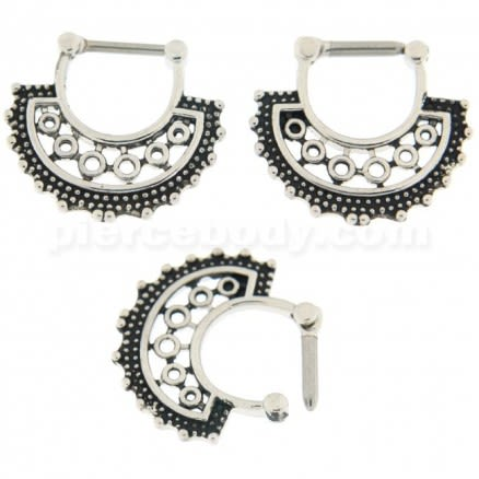 Tribal Dots with Holes Septum Clicker Piercing